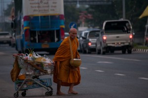 Monk Across Road