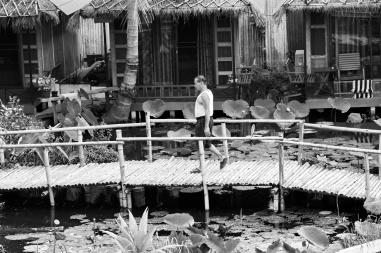 man on wooden bridge