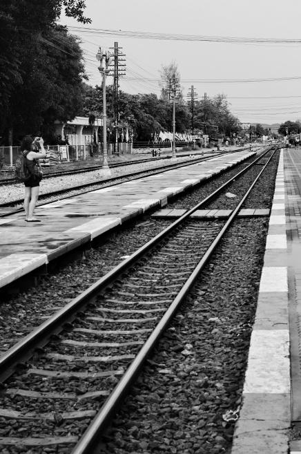 Railline and lady photo